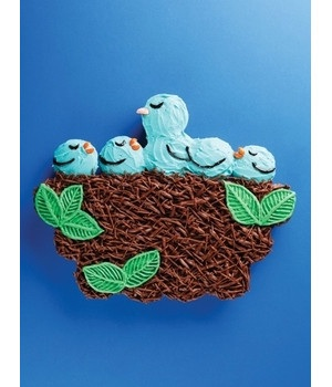 Nest of Bluebirds cake made from cupcakes